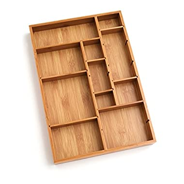 Lipper International 8397 Bamboo Wood Adjustable Drawer Organizer with 6 Removable Dividers, 12-1/2  x 17-1/2  x 1-7/8