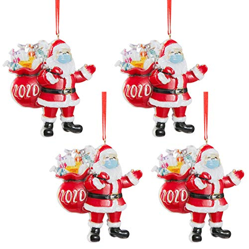 Biubee 4 Pcs Quarantine 2020 Santa Claus Christmas Ornaments- Christmas Tree Hanging Ornaments Pendants Designed with M-Asked Santa Claus for Xmas Tree Decorations Keychain Backpack Hanging