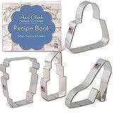 Ann Clark - Set di formine per biscotti, 4 pezzi, con libretto di ricette, borsa, tazza per latte, scarpe con piattaforma e rossetto