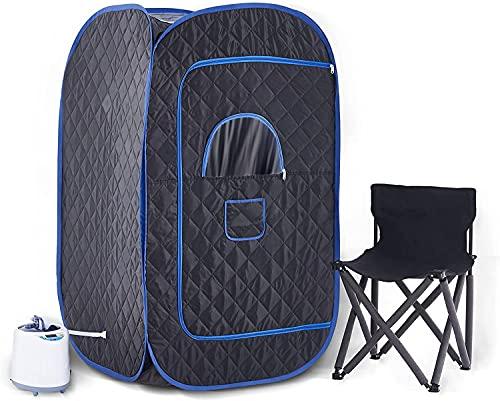 CO-Z Mobile Sauna 2L Heimsauna Spa Tragbare Infrarotsauna, Infrarotkabine mit Fernbedienung und Campingstuhl, Faltsauna Home Sauna ideal Entgiftung und Gewichtverlieren (Luftloch Reißverschluss)