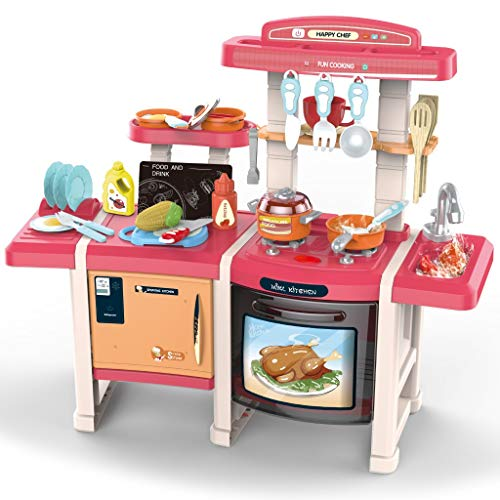【Shipping from USA】 Kids Play Kitchen with Toy Accessories Set, Best Chefs Kitchen Playset, Mini Kids Kitchen Pretend Play Cooking Set Cabinet Stove 3+ Year Old Girls Boys (Multicolour 2)