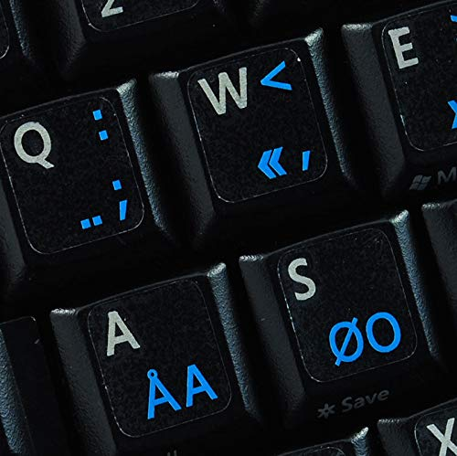 Programmer Dvorak Keyboard Sticker with Blue Lettering Transparent Background for Desktop, Laptop and Notebook