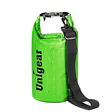 Unigear Dry Bag Sack, Waterproof Floating Dry Gear Bags for Boating, Kayaking, Fishing, Rafting, Swimming, Camping and Snowboarding (Green, 5L)