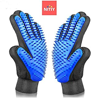 Nitiy - Pet Grooming Gloves - One Pair [Enhanced Design] for Cats, Dogs & Horses- Efficient Pet Hair Remover, Deshedding Brush, Mitt for Long & Short Fur, Massage gloves for Pet Comfort(BLUE, 180 PIN)