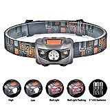 Linkax LED Stirnlampe LED Kopflampe LED Stirnlampen LED Kopflampen Kopfleuchten LED Headlight 4 Lichtmodi für Laufen Joggen Camping Wandern inklusive 3 AAA Batterie