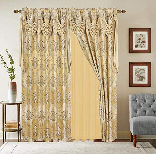 """Jacquard Window 63 Inch Length Curtain Drapes w/attached Valance Scarf + Sheer Backing + 2 Tassels, Traditional 63"""" Floral Curtain Drape for Living/Dining rooms, Rod Pocket (Elisa, 63, Gold)"""
