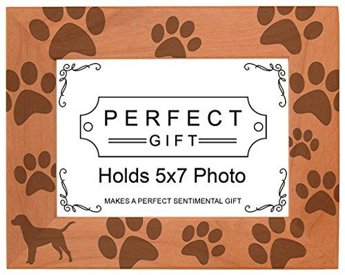 Gifts For All By Rachel Olevia propriétaire de chien Cadeau Labrador Lab empreintes de pattes en bois naturel Photo gravé Cadre photo, Bois dense, bois, 5x7 Horizontal