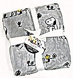 Peanuts Snoopy Queen Fleece Berkshire Blanket Gray with Flowers