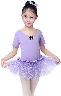 Beautiful Dance Skirt Kids Cotton Ballet Tutu Short Sleeve Crotch Button Jumpsuit Fashion (Color : Purple, Size : 130)
