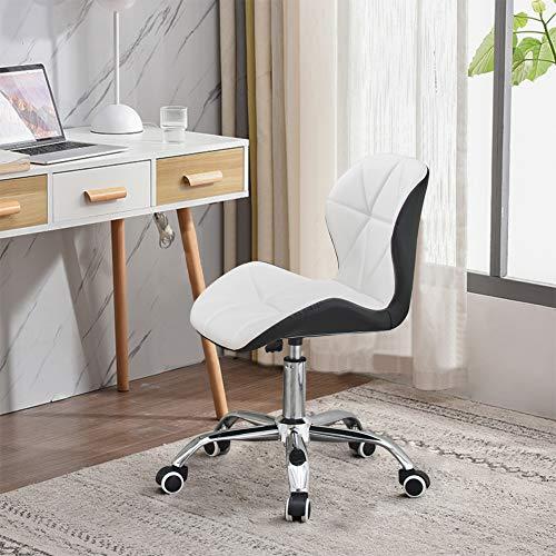 TUKAILAI 1 silla de escritorio ajustable color blanco y negro a juego de piel sintética giratoria con ruedas, silla de oficina para el hogar y estudio con base cromada silla giratoria acolchada