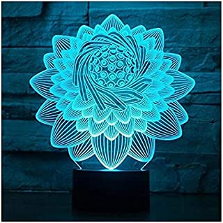 Sponsored Ad - 3D New Lotus Flower lamp Night Light Touch Table Desk Optical Illusion Lamps 7 Color Changing Lights Home D...