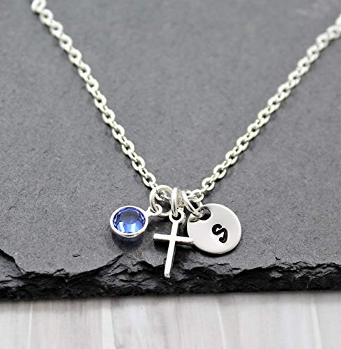 Tiny Cross Necklace for Women - Personalized Birthstone & Initial - Baptism Gifts for Girls