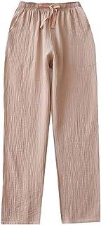 Mens Spring Summer Crepe Pajama Bottoms Cotton Loose Sleepwear Drawstring Pajama Pants with Pockets, Beige
