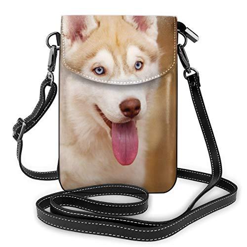 Siberian Husky Puppy Fashion Pequeño Monedero para teléfono Celular Bolso de Hombro Multiusos Cartera