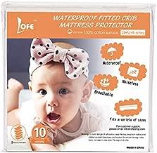 Organic Cotton Crib Mattress Protector - Waterproof Crib Mattress Pad, Baby Crib Mattress Fitted, Breathable, Infant Toddler Crib Mattress Cover, Side Waterproof