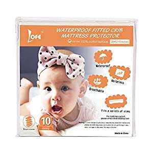 Lofe Cotton Fitted Crib Mattress Protector Waterproof – Infant Breathable Crib Mattress Pad – Toddler Baby Crib Mattress Cover