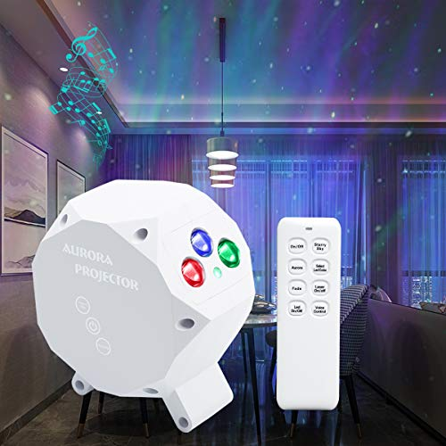 Star Aurora Projector Light, LED Night Light Sky Starry Galaxy Ocean Wave Projection with Bluetooth Speaker, Light Strobe by Sound Control for Baby Kids Bedroom Holidays Party Home