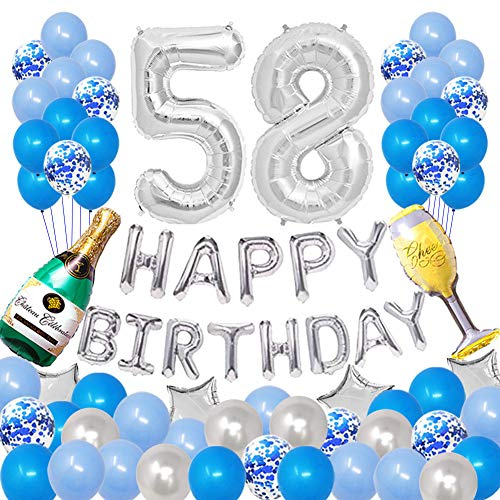Pertlife Happy 58TH Birthday Party Decorations Pack-Blue Silver Theme, Happy Birthday Banner Foil Number 58 12inch Silver Confetti Balloons, Latex Balloons(Blue and Silver)
