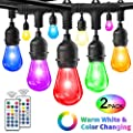 HueLiv 2-Pack 48FT, Outdoor String Lights, Warm White & RGB Color Changing Dimmable LED String Lights, 30+4 Premium Impact Resistant Bulbs, Commercial Grade Patio Café Light for Outdoor/Indoor