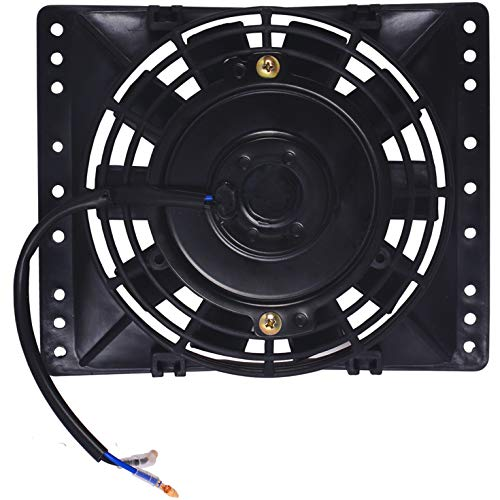 """American Volt 12V Electric Radiator Cooling Fan Reversible High Performance Thermo Cooler Best CFM (6"""" Inch (w/Shroud), Single Fan)"""