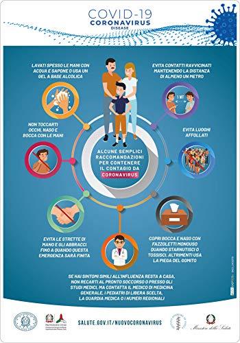 Emergenza sanitaria Covid Adesivi Raccomandazioni Prevenzione 3 pz - cm 35x50