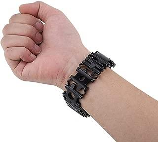 Multifunctional Stainless Steel Bracelet, 29 in 1 Tool Bracelet Multifunctional Stainless Steel Outdoor Tool Bracelet Portable Punk Bracelet Bracelet for Men(Black)