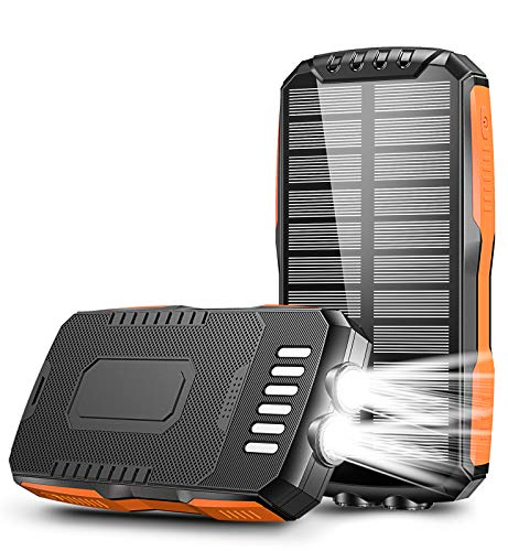 Solar Charger, STOON 25000mAh Solar Power Bank with Dual Flashlights, Fast Charge Solar Phone Charger with 2 Outputs & Type-C Inputs, Waterproof Portable External Battery Pack for Camping Outdoor