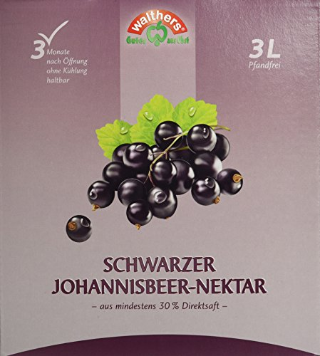 Walthers Schwarzer Johannisbeer-Nektar, 2er Pack (2 x 3 l Saftbox)