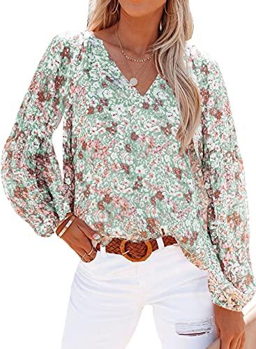 Aleumdr Blusas de manga larga con cordón y estampado floral para mujer, A verde, 36-38