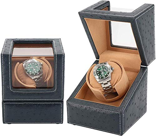 Watch-Wickler-Uhr-Wicker für automatische Uhren einzelner Premium-Strauß-Leder-Außen- und weiche Flexible Uhrkissen (blau + Kamel-Samt) Incomparable