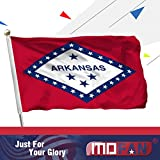 MOFAN Arkansas State Flag Polyester 3x5ft Nicely Stitched and Vibrant Bright Color US AR Flags Decorative with 2 Solid Grommets Indoor/Outdoor