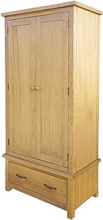HUANGDANSP Garde-Robe avec 1 tiroir 90 x 52 x 183 cm Bois de chêne Massif Meubles Armoires Meubles de Rangement Armoires