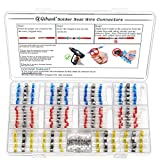 170PCS Solder Seal Wire Connector Kit, Qibaok Heat Shrink Butt Terminal Waterproof Insulated Electrical Butt Splice for Automotive Marine Boat Truck Stereo Wire Joint