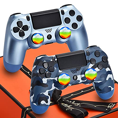 AUGEX 2 Pack Wireless Controller Compatible with Playstation 4 Console, AUGEX PS4 Remote Control for Play 4 with Gift Box,Great Joystick Gift for Kids,Son,Man(Blue Camouflage and Titanium Blue)