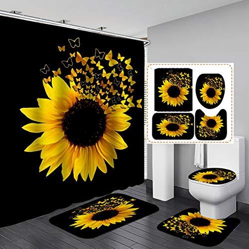 Jayden&Madge 4PCS/Set Magic Butterfly Sunflower Shower Curtain Flower Bathroom Set, Waterproof Fabric Cloth Bath Curtain, Non-Slip Bathroom Rugs Toilet Rug Bath Mat, Floral Bathroom Decor, Butterfly