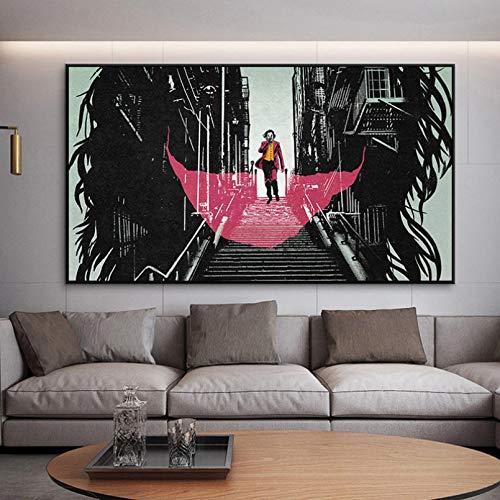 N/A Dekorative Drucke aus Leinwand Comics Joker Poster und Drucke Joker Wandkunst Leinwand Gemälde Wandbilder für Wohnzimmer Schlafzimmer Dekor UnFramed Print-60x80cm
