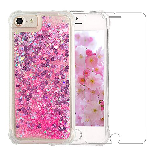 "iPhone 6/6S/7/8 Glitter Case, NOKEA Luxury Fashion Bling Flowing Liquid Floating Sparkle Glitter Girly TPU Case with Free Tempered Glass Screen Protector for iPhone 6/6S/7/8 (4.7"") (Pink)"