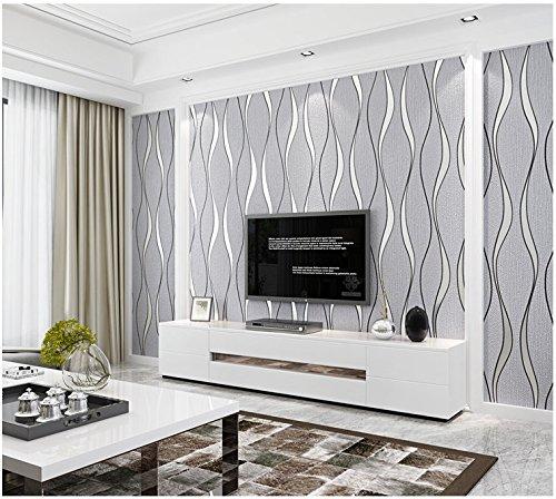 Yosot Modern 3D Relief Curves Stripes Wallpaper Tv Background Living Room Non-Woven Wallpaper Light Grey