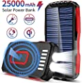 FKANT Solar Charger, 25000mAh Wireless Charger Portable Solar Power Bank with Two 3W High-Bright Flashlights and 4 Ports External Backup Battery Pack for Camping Accessories for iOS Android (Red)
