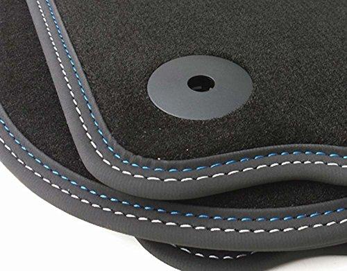 Fußmatten Passend für Golf 5 6 (Premium Velours) Automatten Premium Qualität 4-teilig Doppelnaht Blau/Weiß