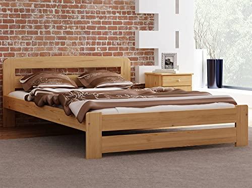 Bett Holzbett aus Kiefernholz mit Lattenrost Einzelbett Doppelbett Ehebett Farbe: Erle 90x200 120x200 140x200 160x200 Schlafzimmer Kinderzimmer für Jungen und Erwachsene (120 x 200 cm)