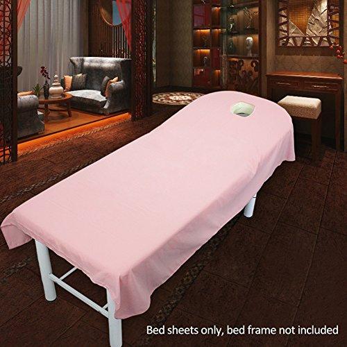 Uxely Laken für Behandlungsliege mit Öffnung für Gesichtsausschnitt, weiches Laken für Beauty-Salon, Massage, Kosmetik-Salon, Spa, Massageliege, Bett, Tisch, Bezug, Laken mit Loch, Pink, 80cmx190cm
