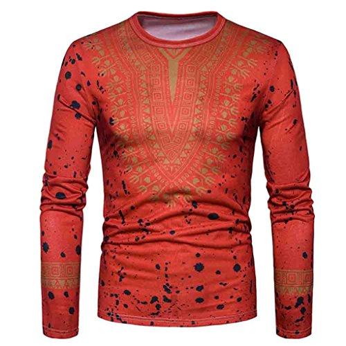 LHWY Shirt Herren, Männer Sweatshirt Mode Afrikanischen Print O Neck Pullover Langärmelige T-Shirt Top Schwarz Weiß Bluse (L, Rot)