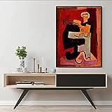 WKAQM Pablo Picasso Hombre Tocando Mandolina Lienzo Pared Arte Famoso Póster Grabados Resumen Pared Pintura Galería Sala Habitación Cuadro Pared Arte Decoración Sin Marco