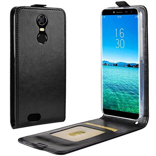 HualuBro Oukitel C8 Hülle, Premium PU Leder Leather HandyHülle Tasche Schutzhülle Flip Hülle Cover mit Karten Slot für Oukitel C8 Smartphone (Schwarz)