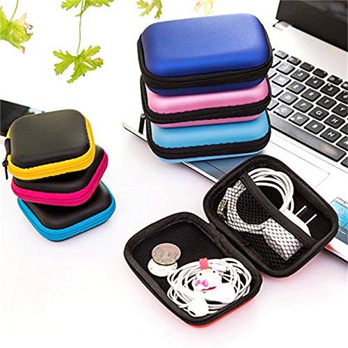 L: Pequeño rojo rosa: bolsa de viaje para cable de auriculares, caja...