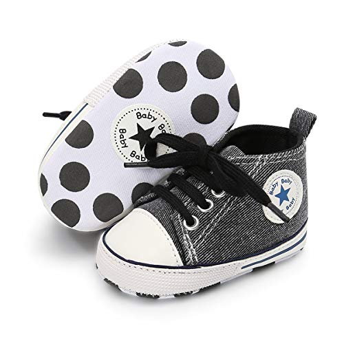 BENHERO Baby Girls Boys Canvas Shoes Toddler Infant First Walker Soft Sole High-Top Ankle Sneakers Newborn Crib Shoes(0-6 Months M US Infant),G-Carbon Black