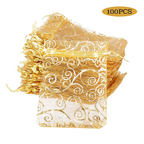 (8 * 11cm) 100 Stücke Organzabeutel Hochzeit Weihnachten Taufe Organzasäckchen zum befüllen Säckchen für Lavendel Geschenkbeutel Organza Schmuckbeutel klein (Golde Farbe (Gold Muster))
