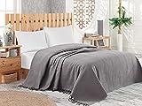Pique Tagesdecke   Kuscheldecke 220x240 cm   Bettüberwurf mit Fransen   Extra große Wohndecke   Sofadecke 100prozent Baumwolle   Waffelpique   Grau