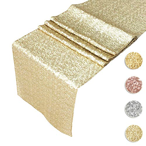 AMAZLINEN Sequin Table Runners CHAMPAGNE GOLD 12 X 108 Inch Glitter CHAMPAGNE GOLD Table Runner-CHAMPAGNE GOLD Party Supplies Fabric Decorations For Wedding Birthday Baby Shower